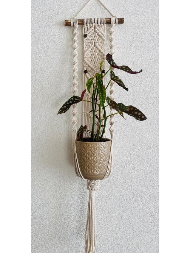 Macramé plantenhanger ecru