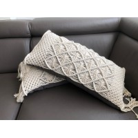 Macramé throw pillow long