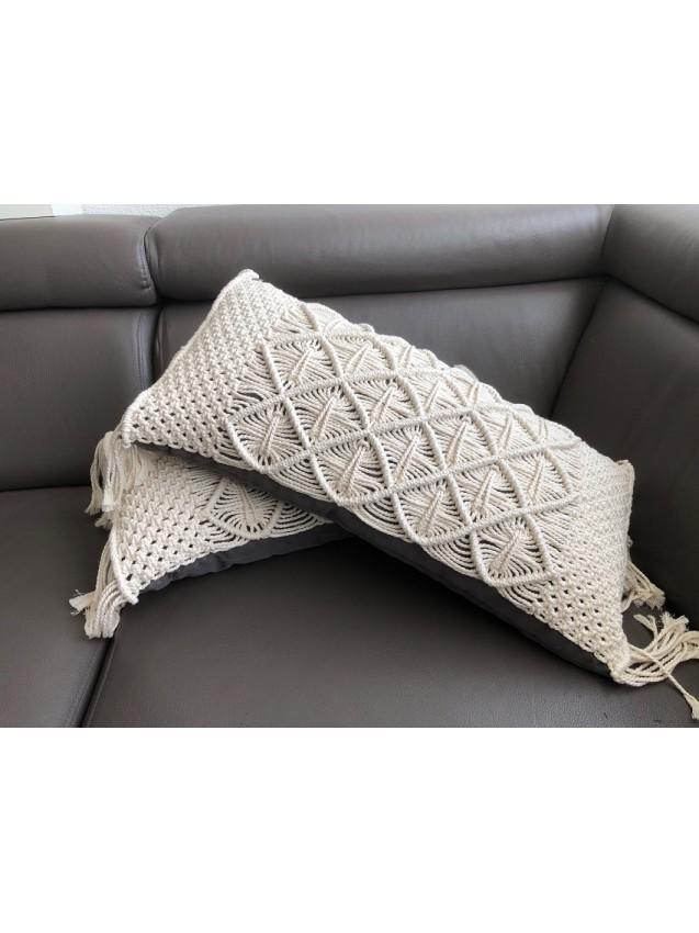 Macramé throw pillow long